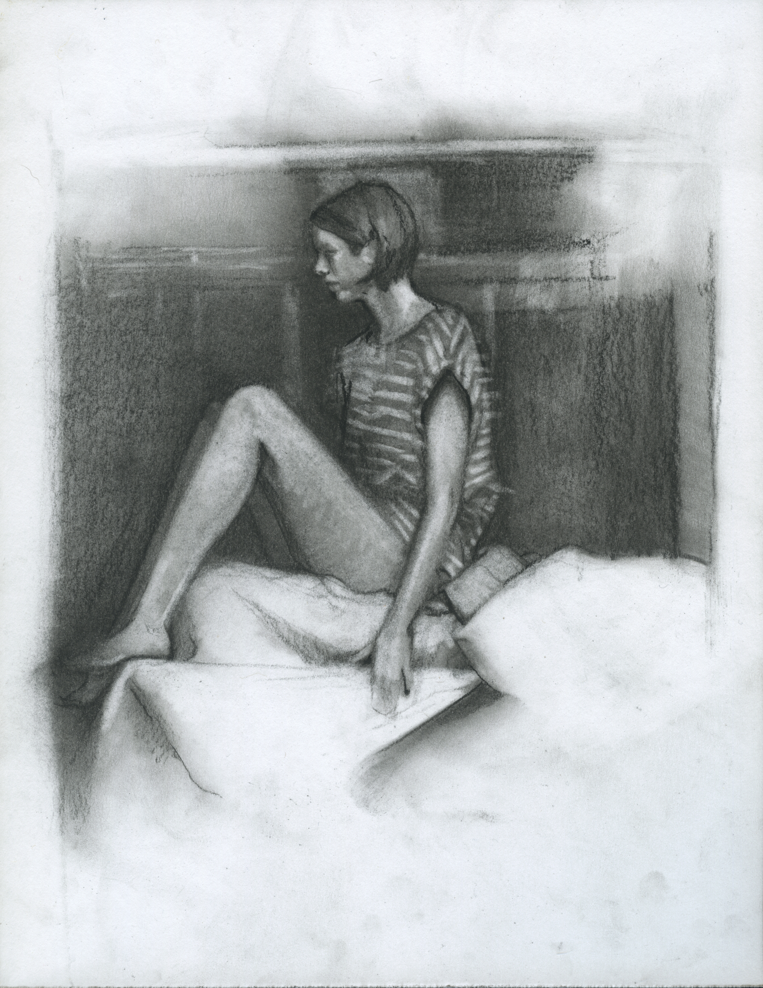 "Dramatic Convention, charcoal on paper, 11"" x 8.5"", 2014"