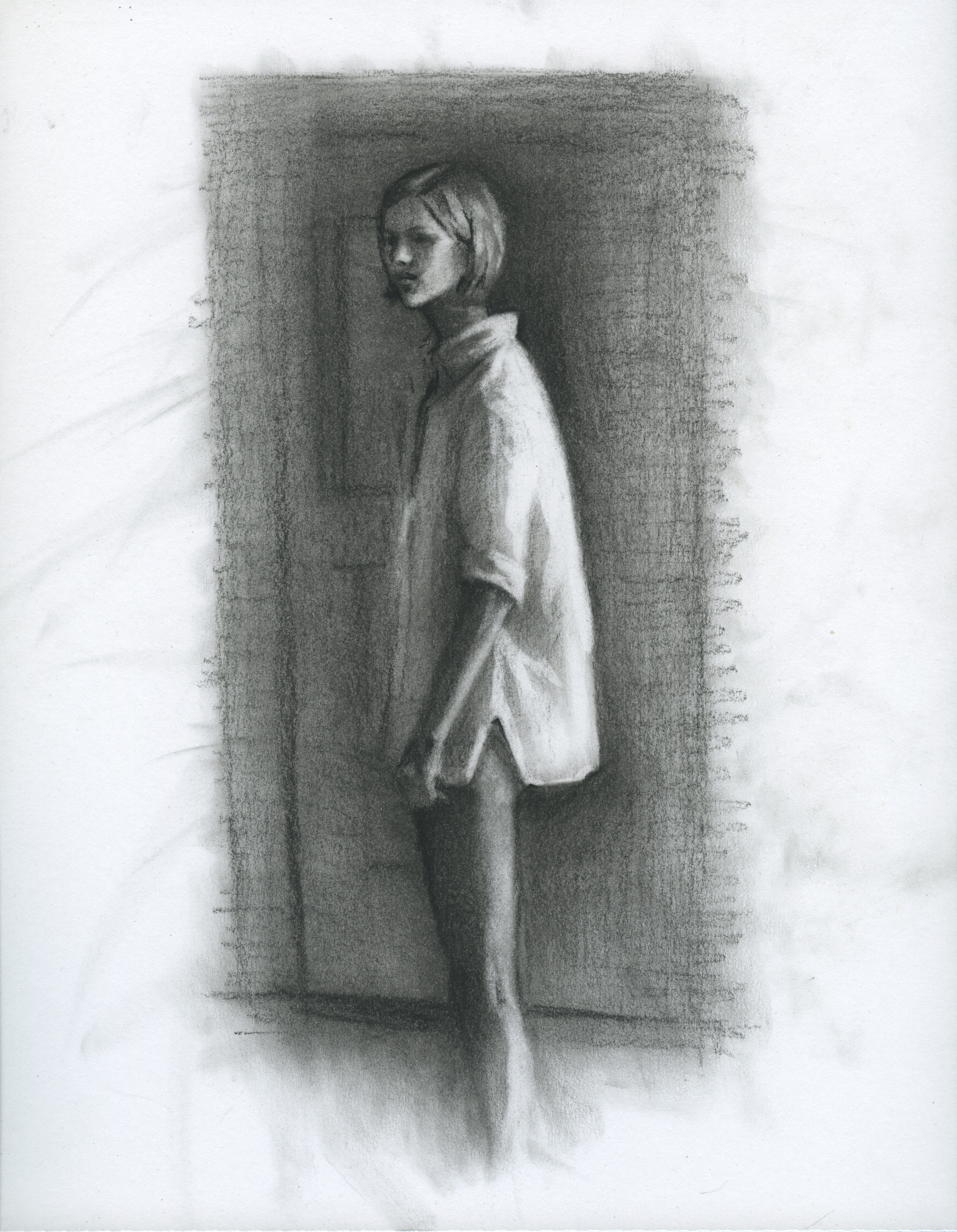 "The Mind Goes Clean, charcoal on paper, 11"" x 8.5"", 2014"