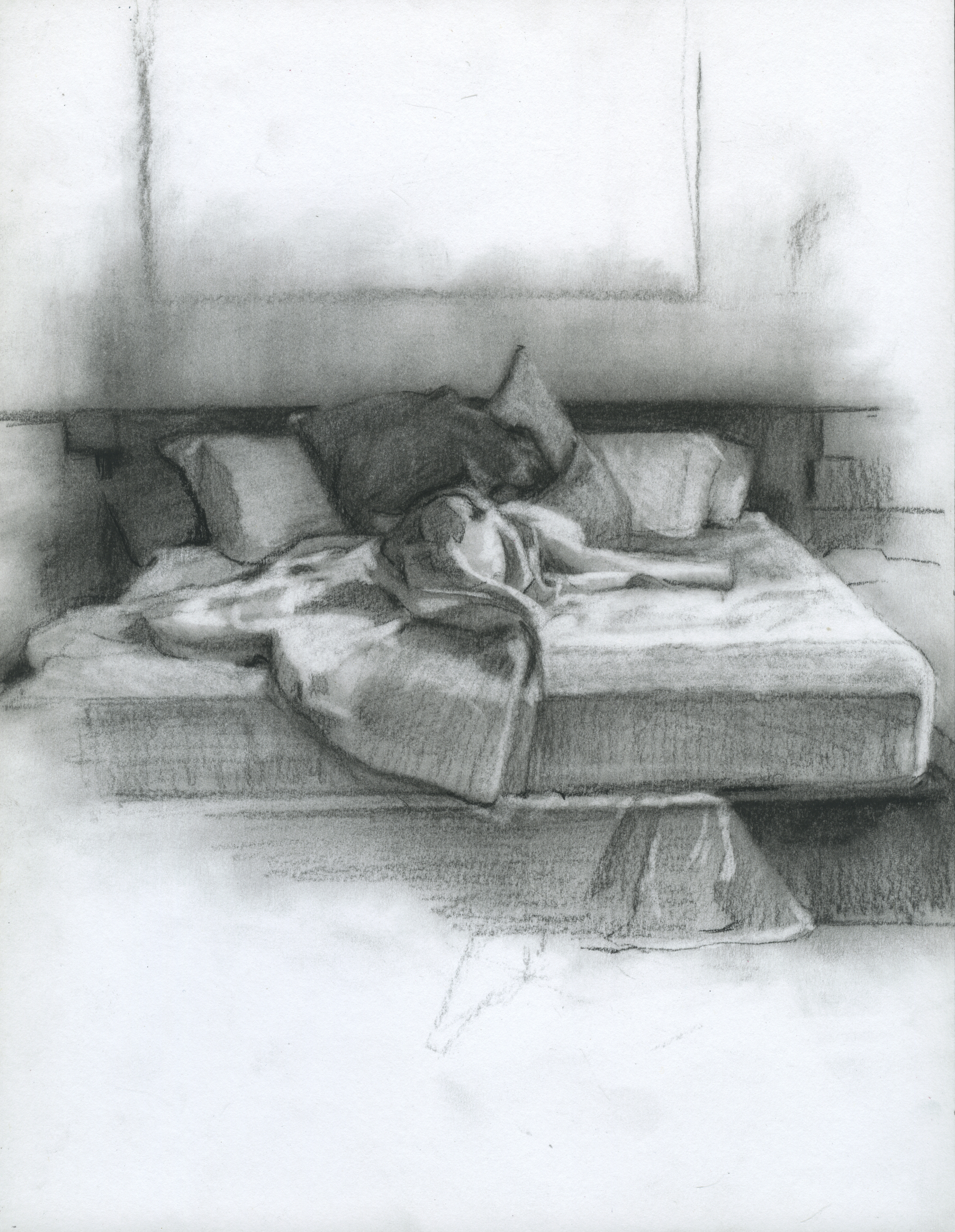 "Before We Started Dreaming, charcoal on paper, 11"" x 8.5"", 2014"