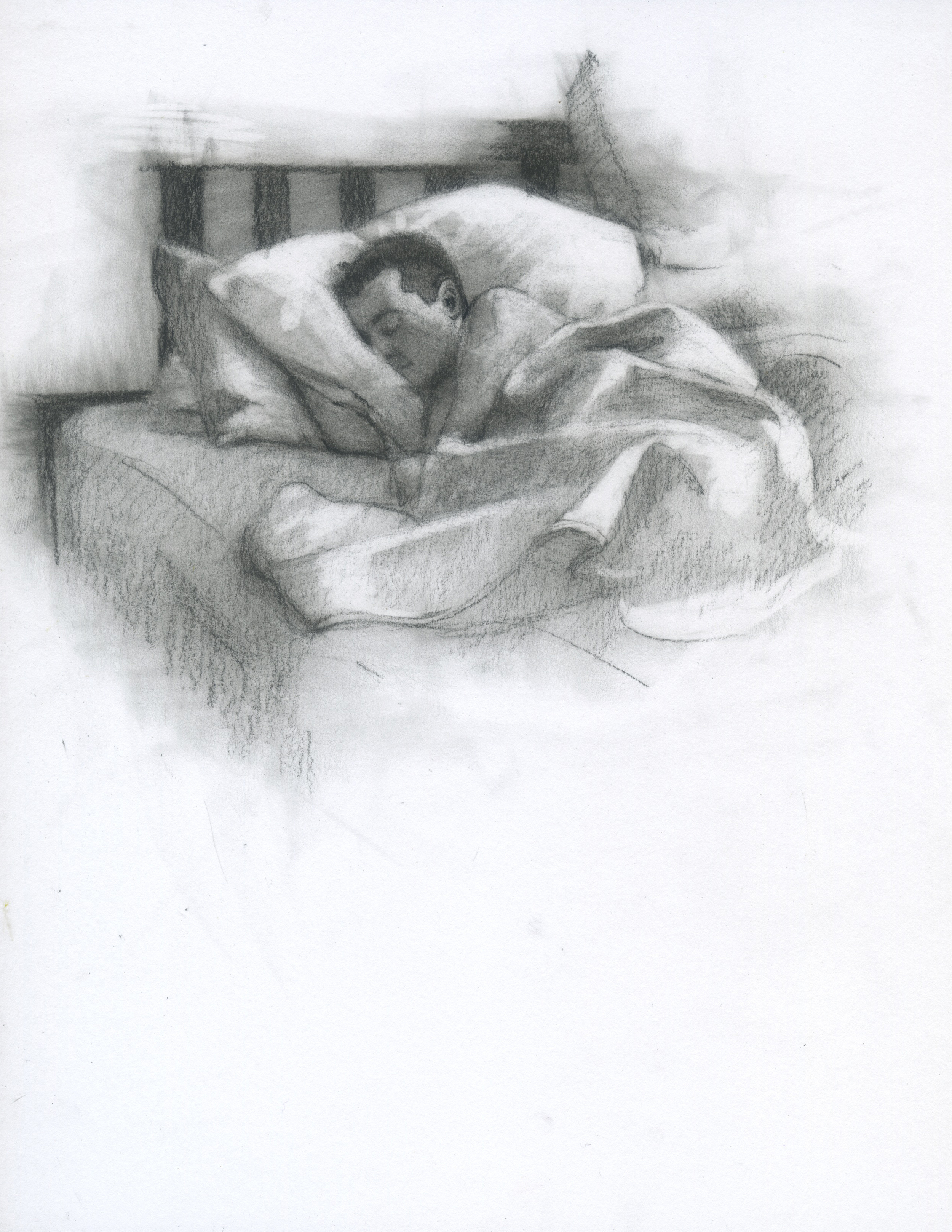 "Sleeping, charcoal on paper, 11"" x 8.5"", 2014"