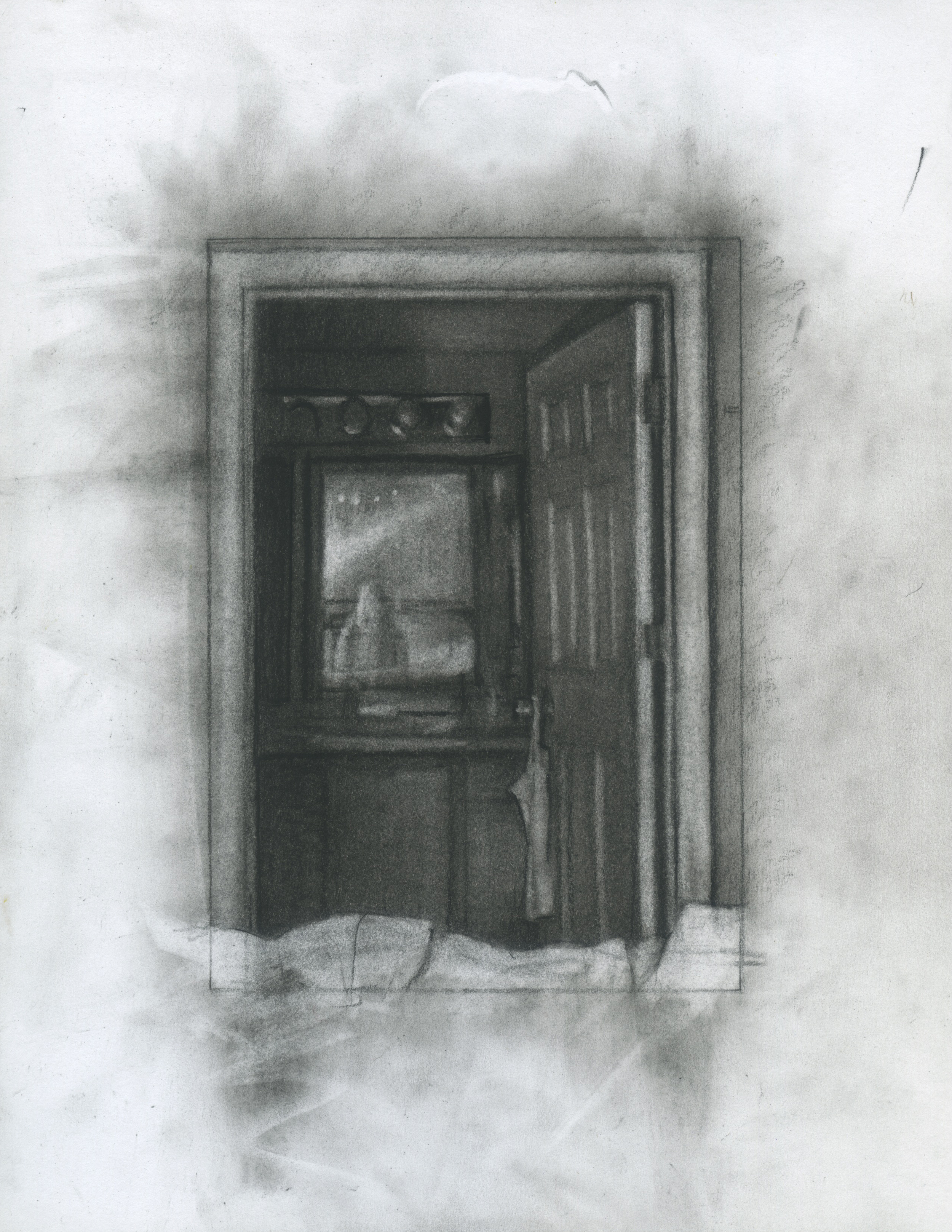 "Inherits the Predisposition, charcoal on paper, 11"" x 8.5"", 2014"