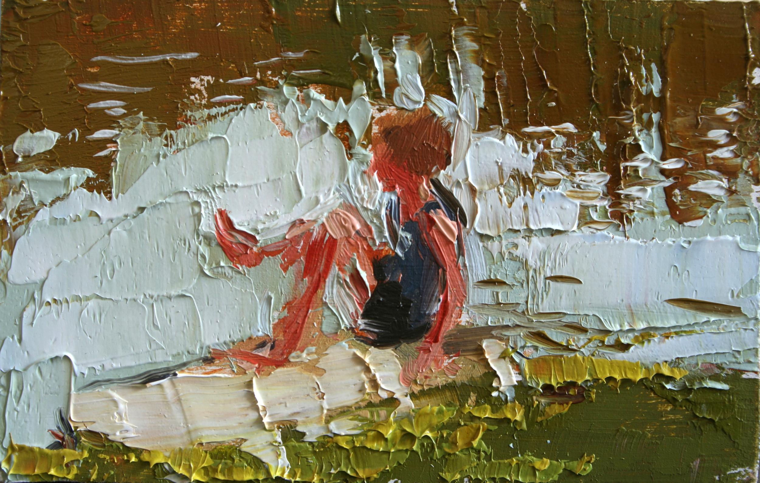 """TS 32, oil on panel, 2"""" x 3.25"""", 2011"""