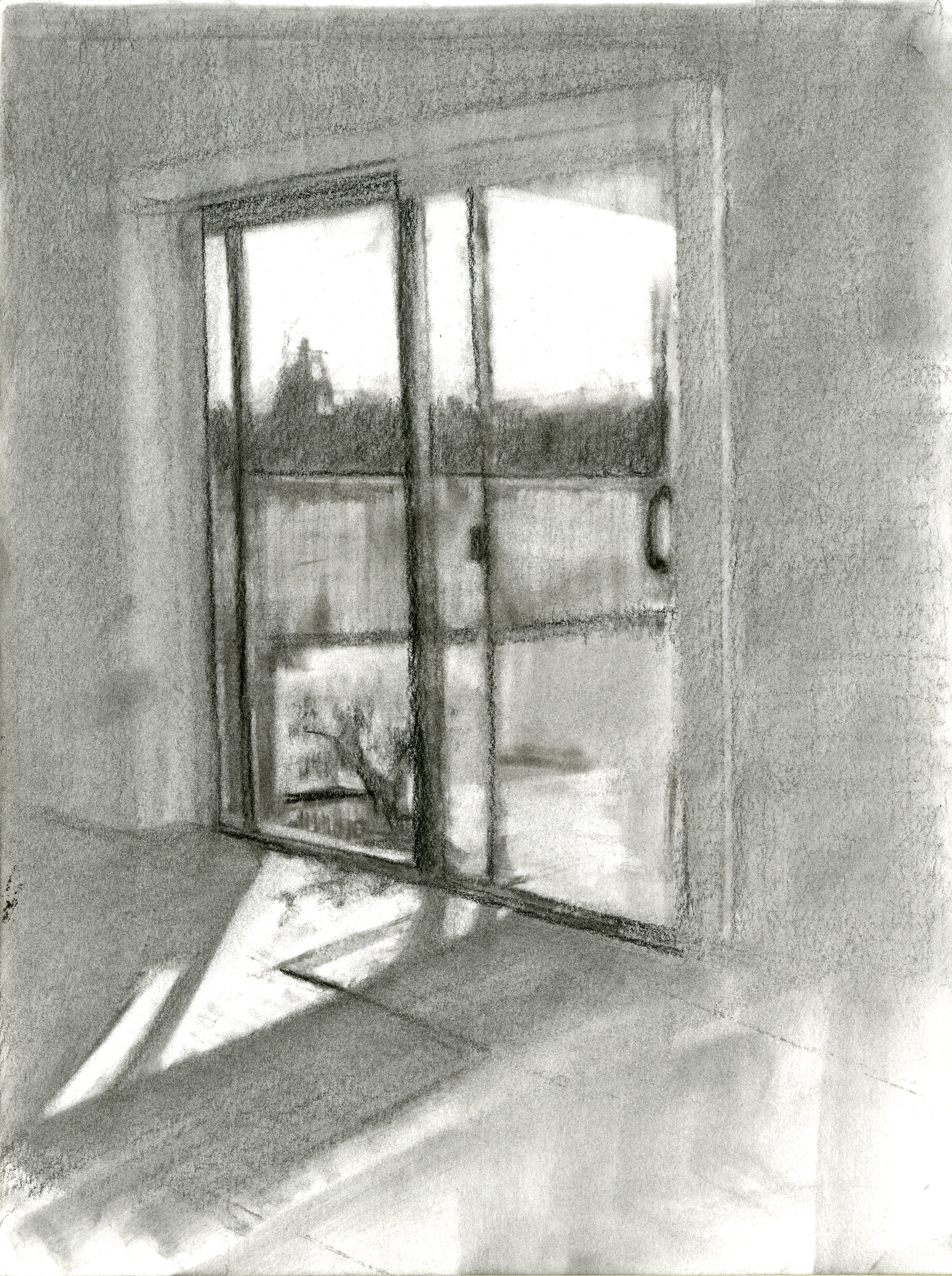 "Warm Interior, Charcoal on Paper, 12"" x 9"", 2016"