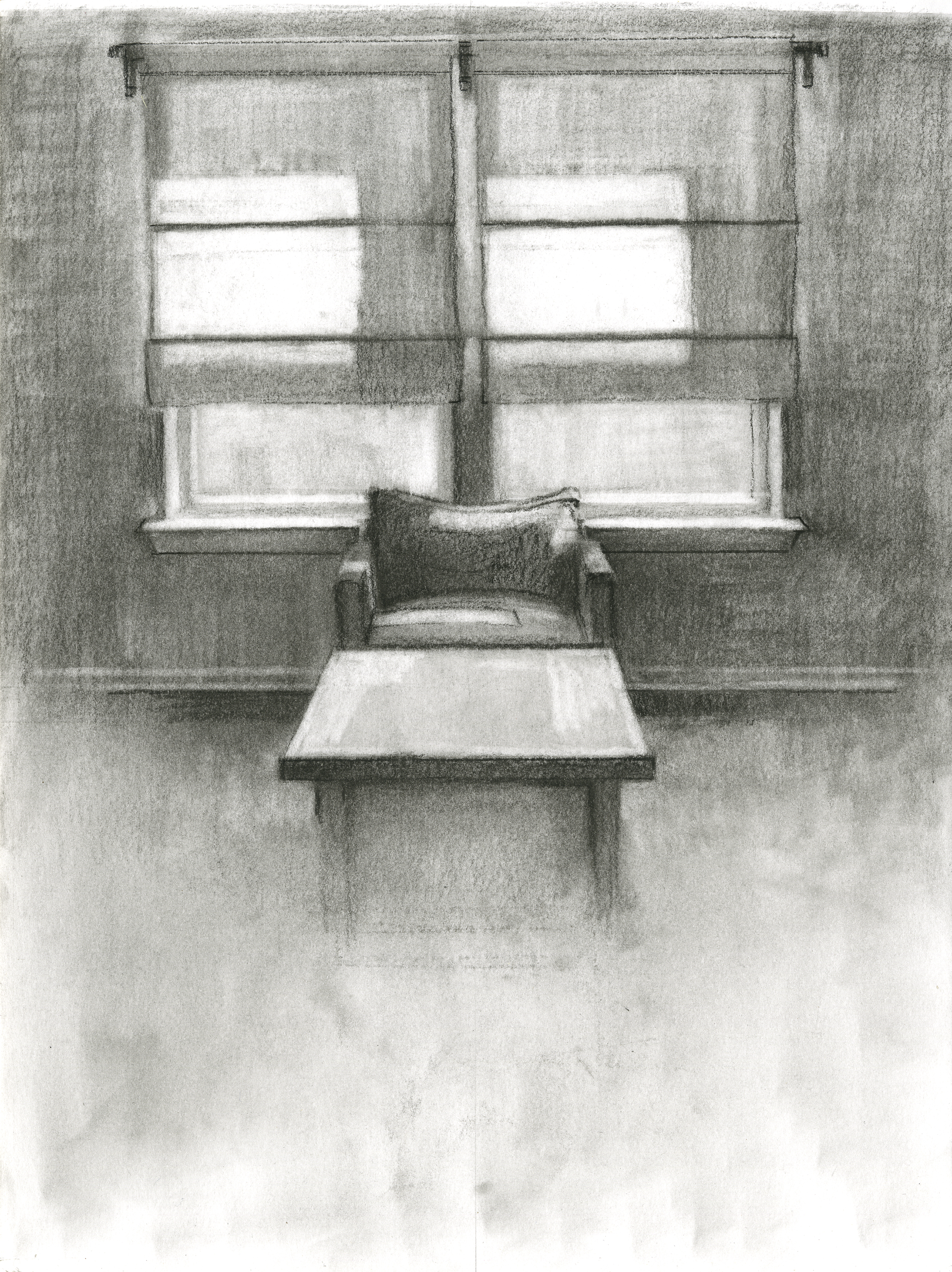 "Quiet of the House,	Charcoal on Paper,12"" x 9"", 2016"