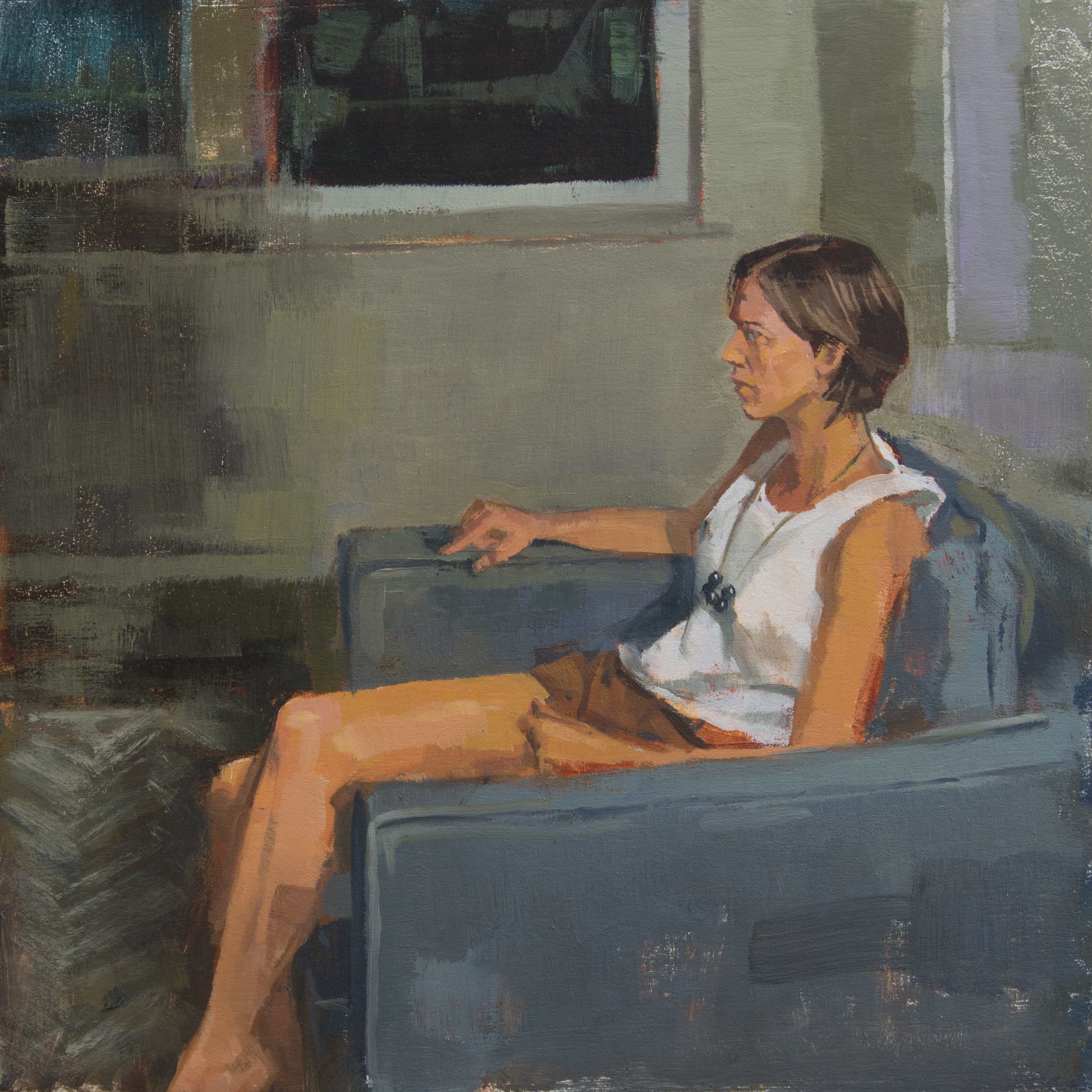 "Familiar Gazing, oil on panel, 10"" x 10"", 2016"