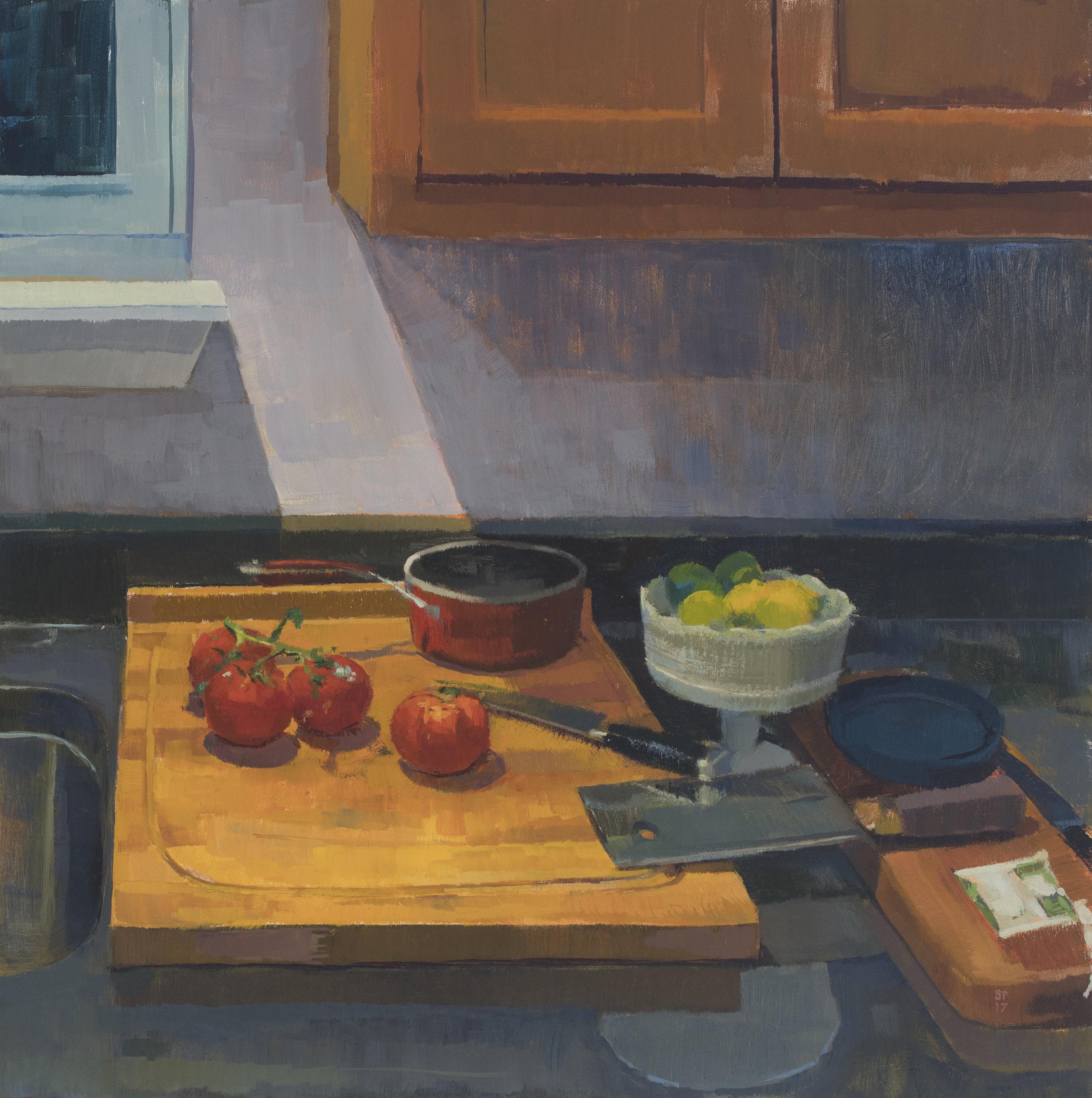 """Solitary Light, 16"""" x 16"""", oil on panel, 2017"""