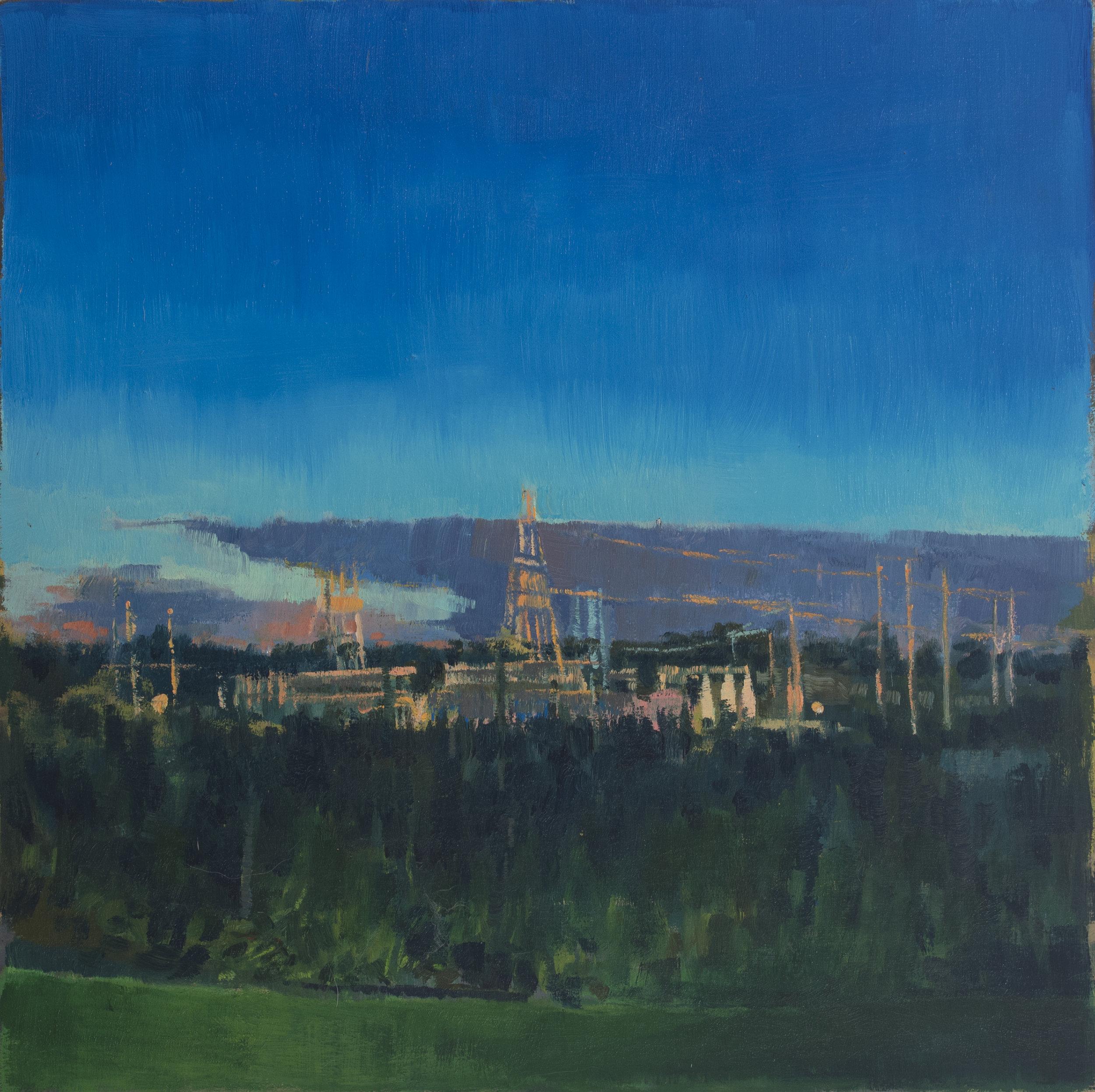 "Early Summer Twilight, Oil on Panel, 10"" x 10"", 2018"