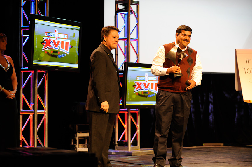 Seetha receiving his award during the Hall of Fame induction ceremony at the Photoshop World Conference & Expo opening keynote presentation.