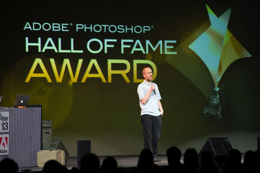 Jeff during his acceptance speech in the Photoshop World opening keynote