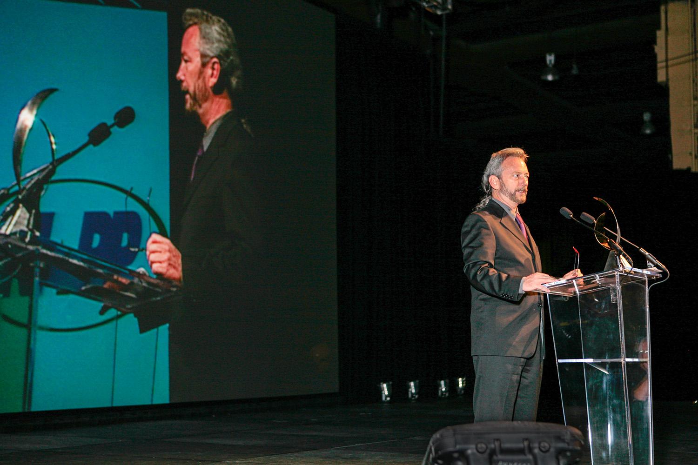 Eddie on stage during his acceptance speech.