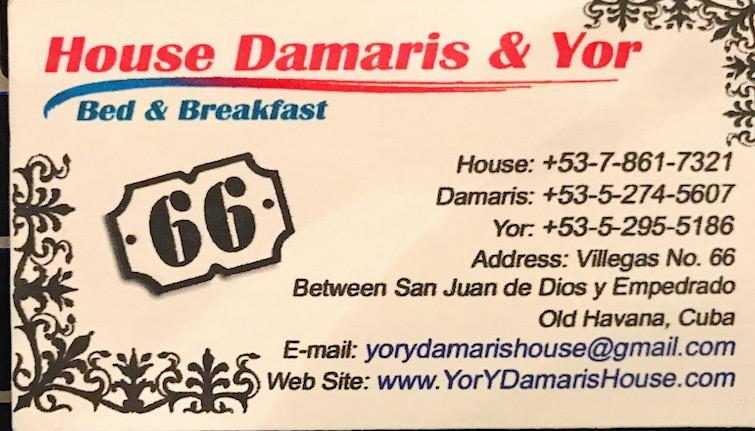 House Damaris & Yor. Casa Particular, Havana Vieja, Cuba.