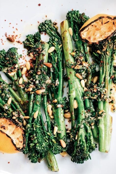 broccolini with grilled lemon, pine nuts, & aleppo chile - a recipe we can bulk prep and eat throughout the week with no complaints? that's a yes from us.