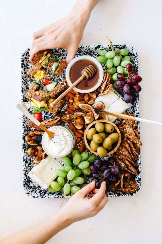 no bake meals - do. not. turn. the. oven. on. just don't do it. Instead, slice some veggies, throw down some grapes, and go crazy with the dips and cheese for a meal you'll want to have on repeat but won't leave you fanning your face to enjoy.