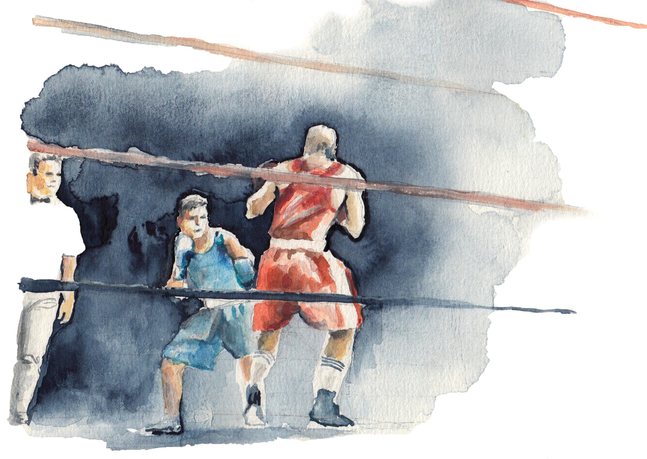 Boxer 2 / 2018 / Acryl und Aquarell auf Papier / 14 x 30 cm