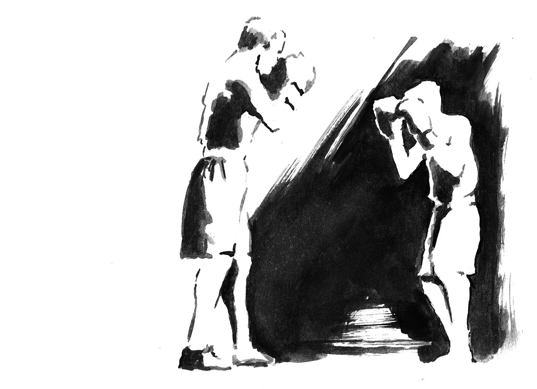 Boxer 1 / 2018 / Aquarell auf Papier / 14 x 30 cm