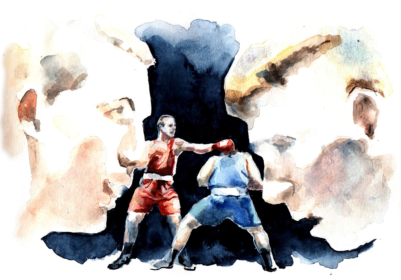 Boxer 5 Renato Lohri / 2018 / Aquarell auf Papier / 14 x 30 cm