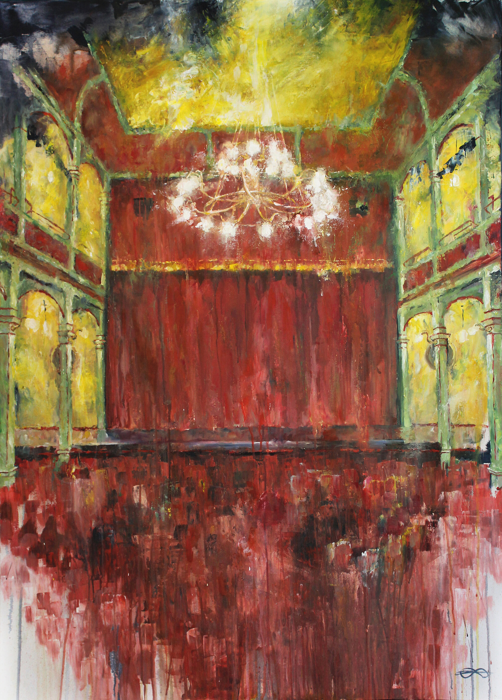Tonhalle Wil - Lampenfieber (Stage Fright) / 2019 / acrylic on canvas / 140 x 100 cm