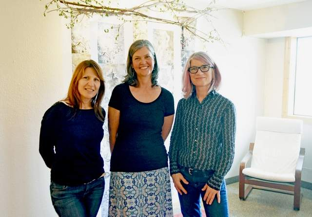 Artists Heidi Marie Faessel, Jenny Bevill and Olivia Stark are the main organizers of a one night only art exhibit for the Flathead Valley Women in the Arts at the Stark Gallery downtown.