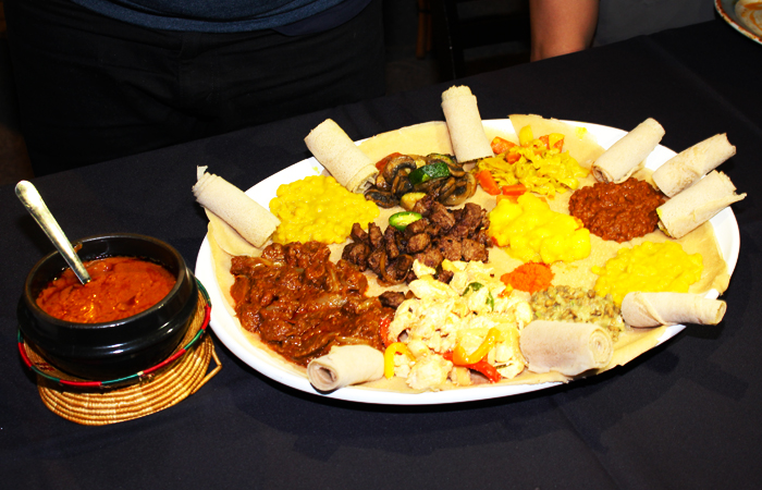 We got two big plates with injera, wots (think stews) and tibs (think boldly flavored stir fried beef, lamb or chicken).