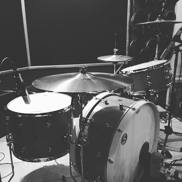 """Custom 26"""",18"""",14"""",14"""" drum kit in solid Mahogany built by Jefferson at Sugar Percussion custom for our room.  Great studio drum sounds start at the source and this kit really does it all! #drumporn #studiolife @sugarpercussion"""