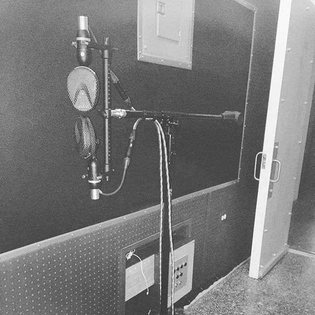 """We've had the idea for this heavy duty rolling Coles 4038 Blumlein pair for years now.  Ever since reading in @tapeopmag about Bruce Swedien using a similar setup behind each critical mono source on """"Thriller."""" The idea is to roll this up level with the source and 3-6' behind, for instance, a vocalist on a U67 - for added depth and perspective to the source as well as a warm and wide room ambience to play with in the mix. Super excited to put this technique into service! #bruceswedien #thriller #studiolife #coles4038 #the45factory"""