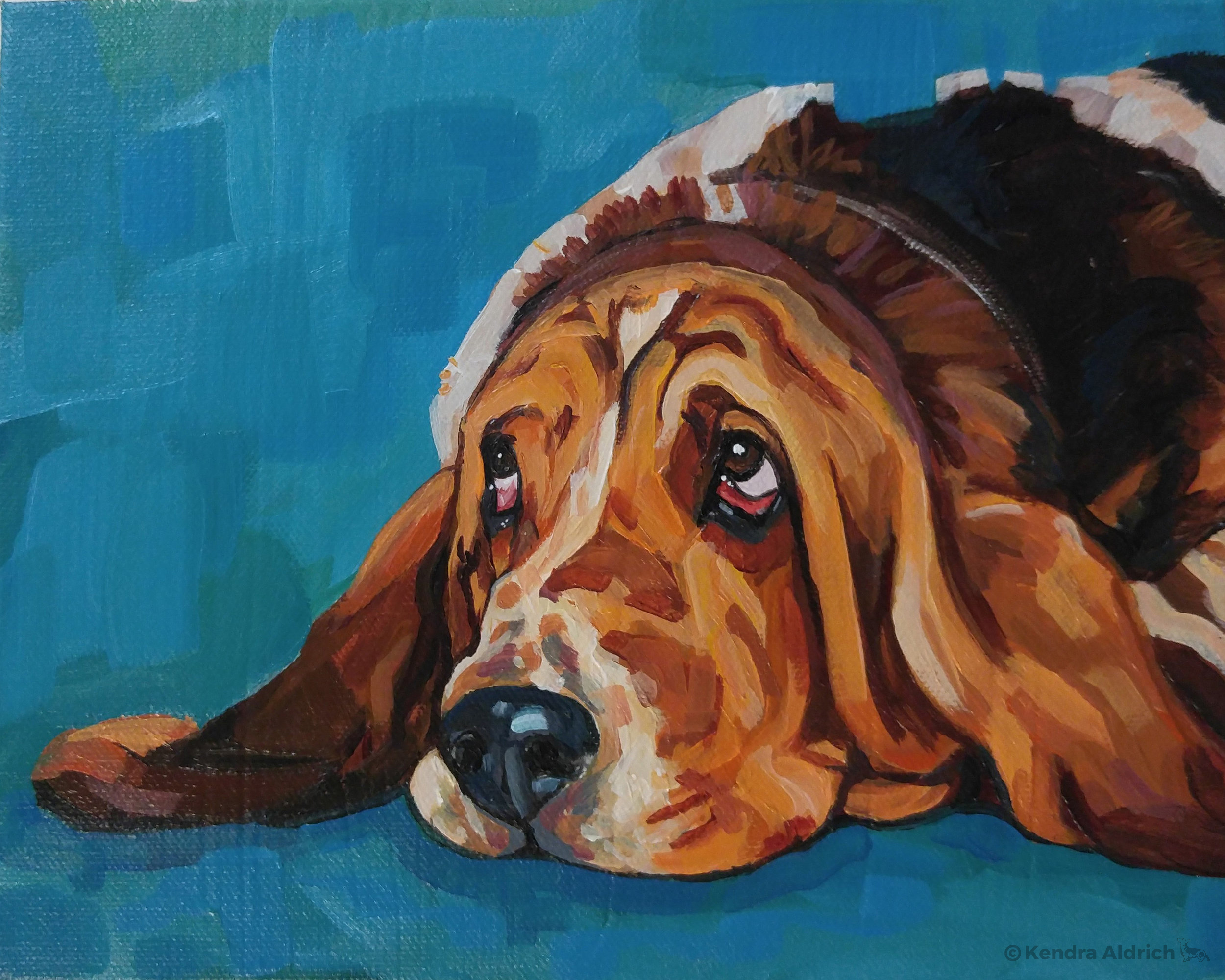 Basset, Acrylic on Canvas, 8x10