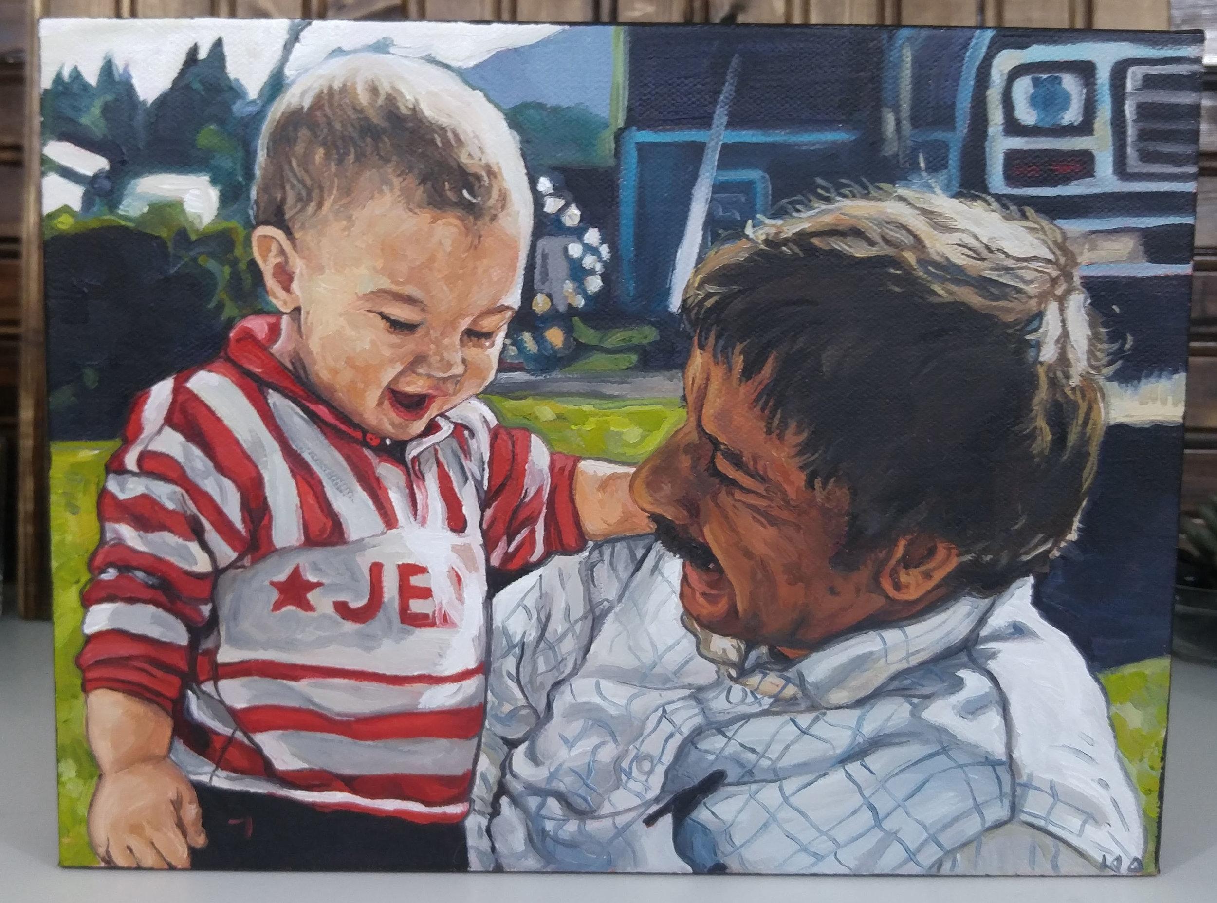 Ryan and Grandpa, 9x12, Oil on Canvas