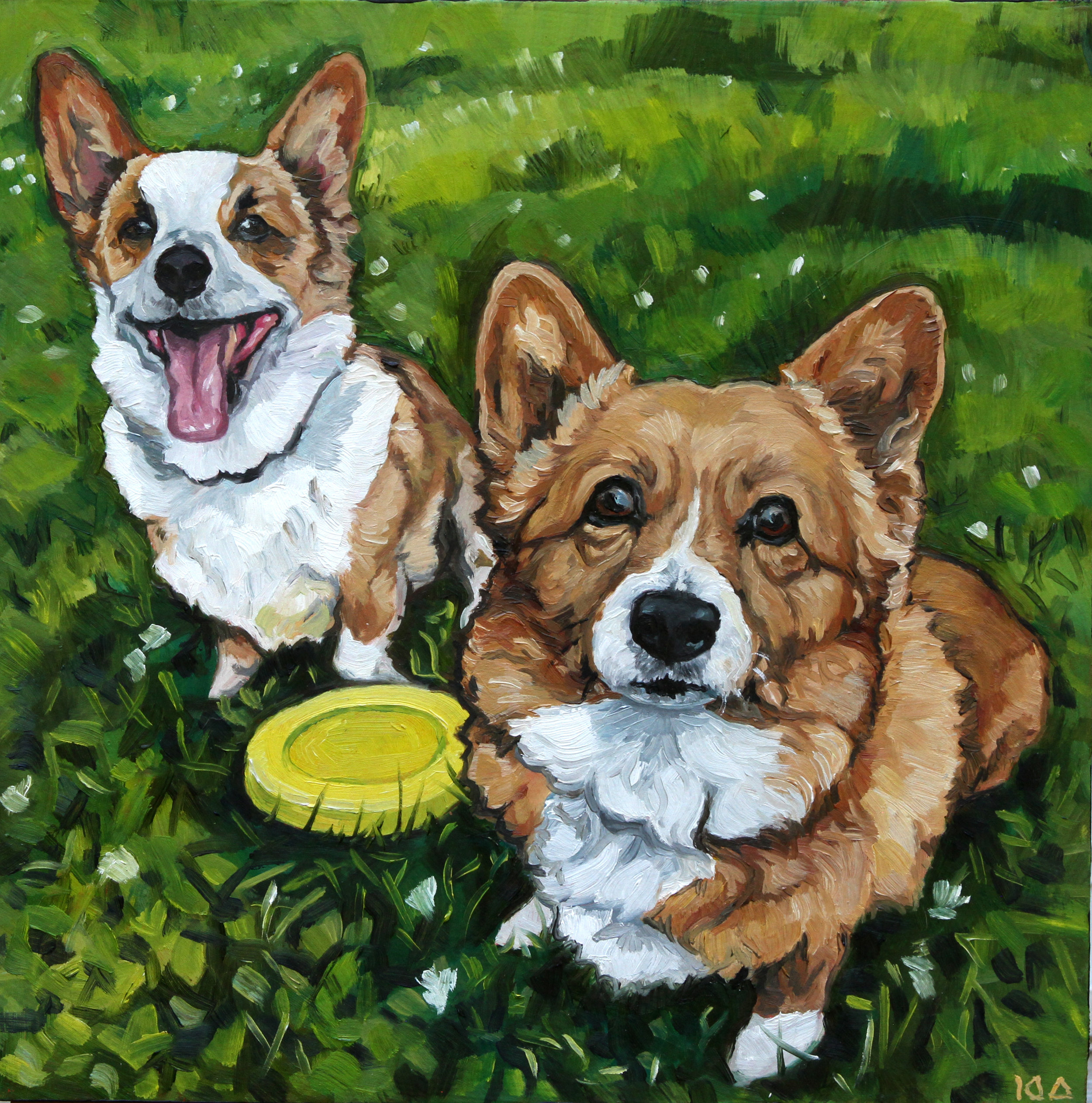 The Corgis, Oil on Panel, 12x12