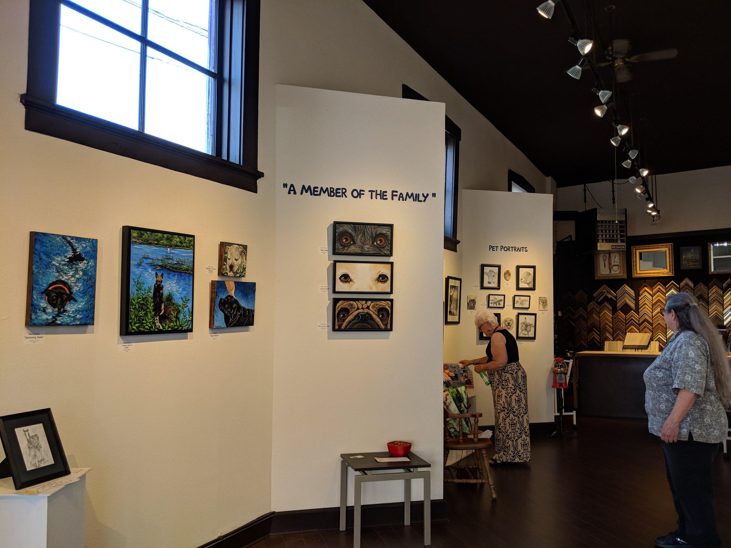Show title with Karen Theusen's work below it.
