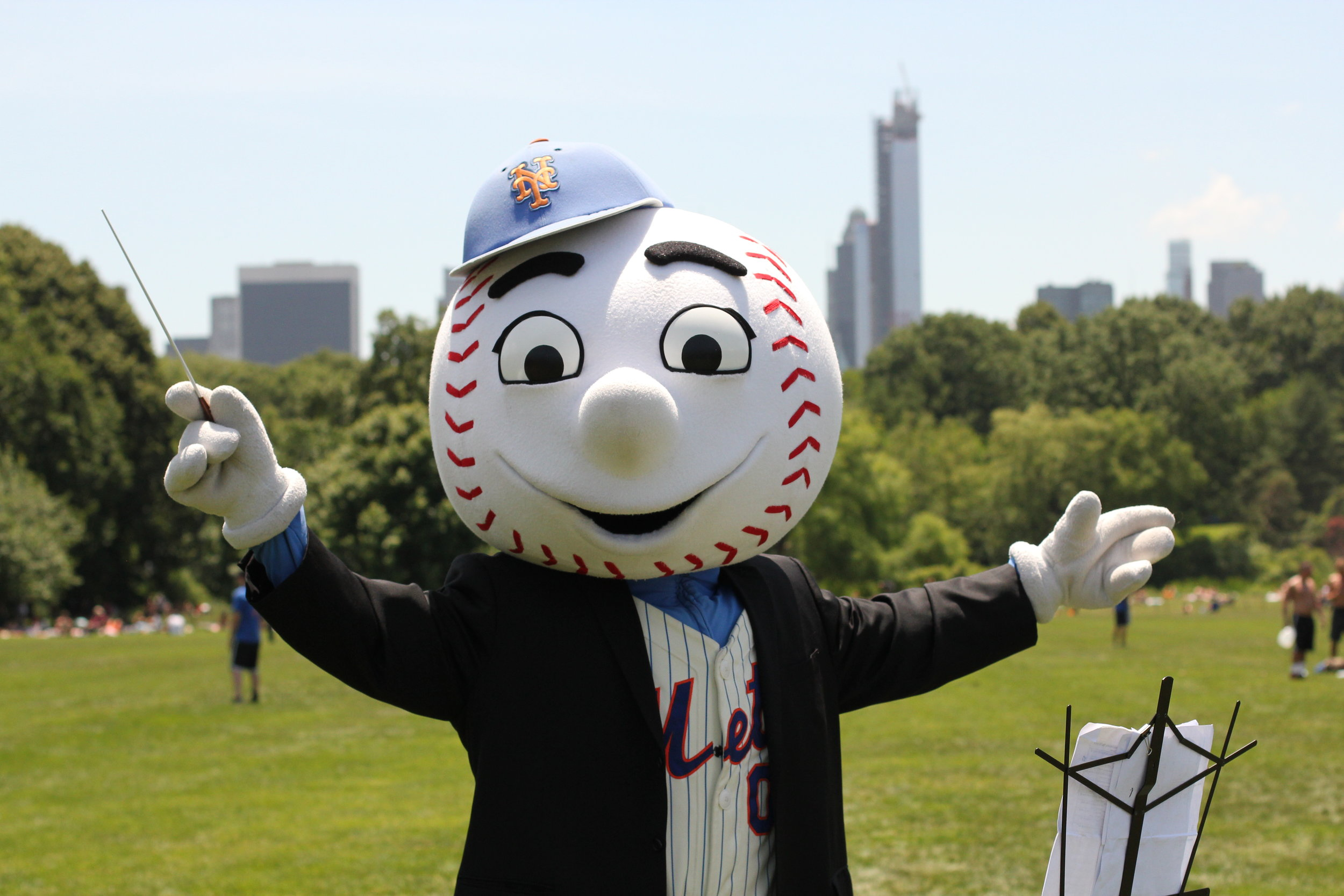 Mr. Met conducting absolutely no one in Central Park. Summer of 2013