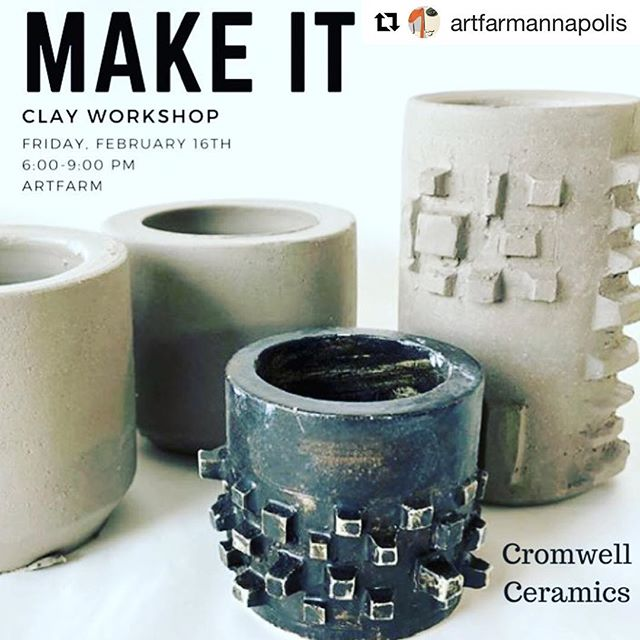 #Repost @artfarmannapolis with @get_repost ・・・ CLAY NIGHT with @cromwellceramics on Friday, February 16th. Learn how to create and add unique textures to two of your own vessels. The pieces will be fired and returned to you a couple weeks after the class. Registration link in profile. #artfarmannapolis #annapolisarts #clay #cromwellceramics #makeitatartfarm #nightout