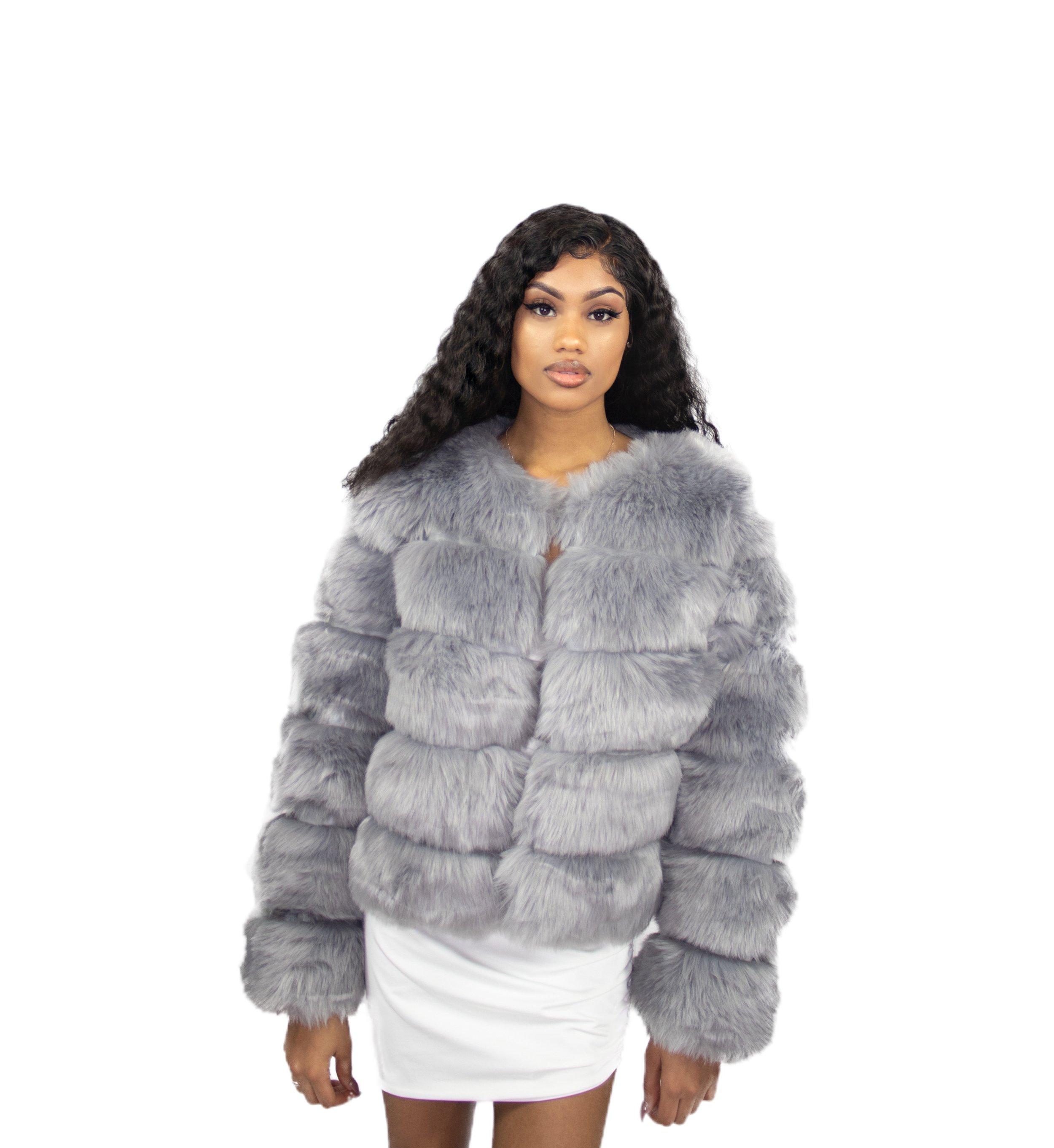 f9009abcd4ed Princess Mia Fur Coat- Grey — Pink Plastic