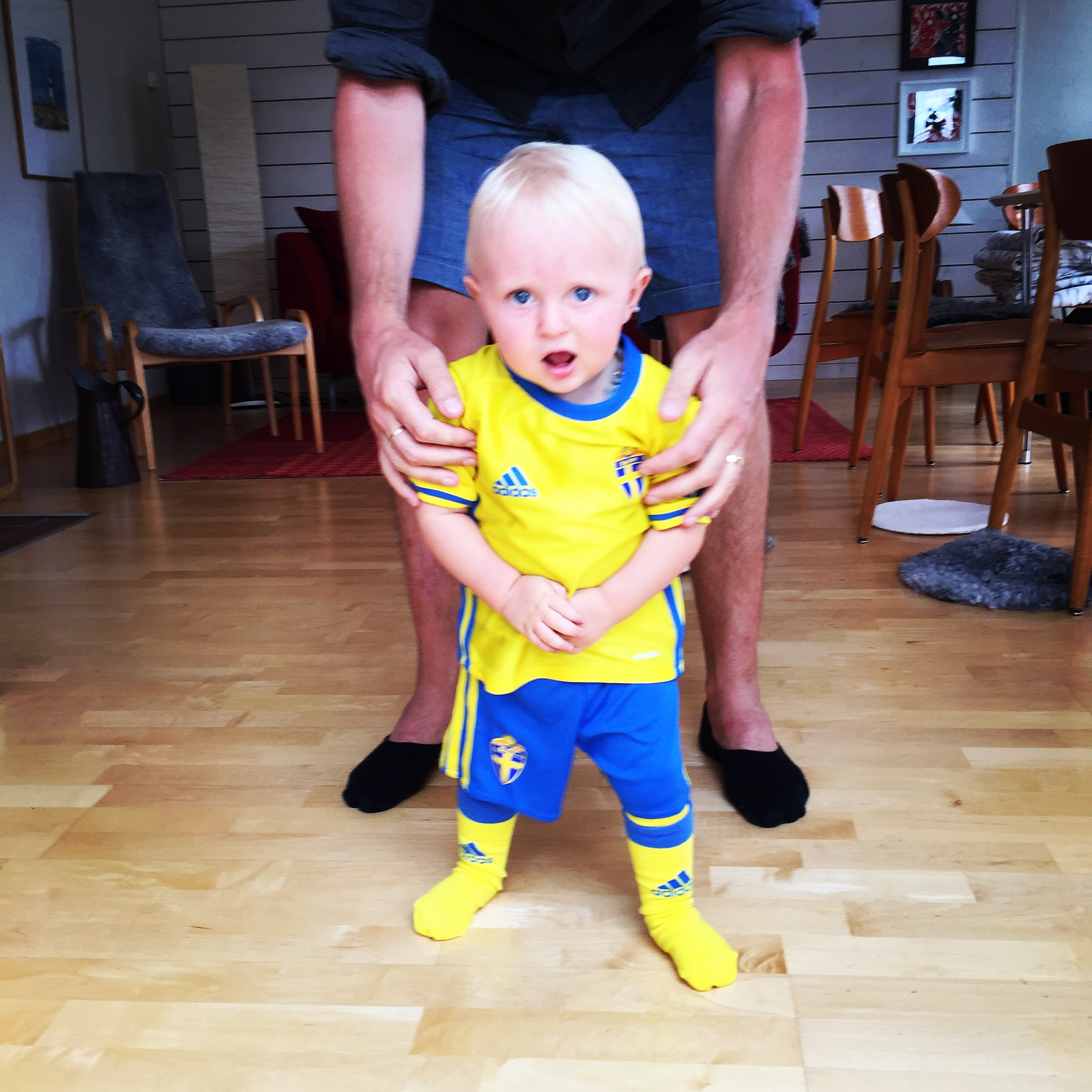 He's clearly upset about wearing a Sweden soccer jersey