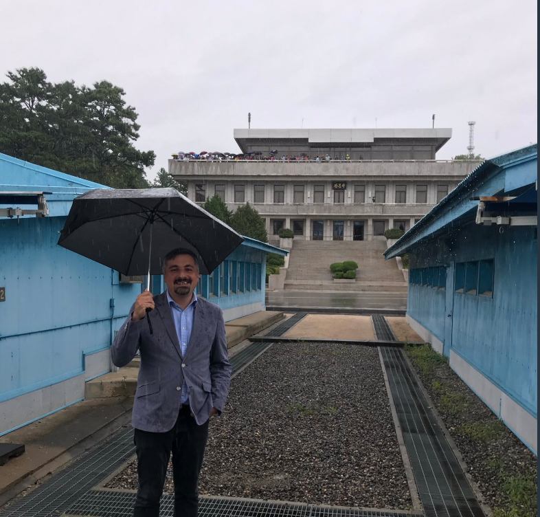 Visiting Joint Security Area at border of North Korea