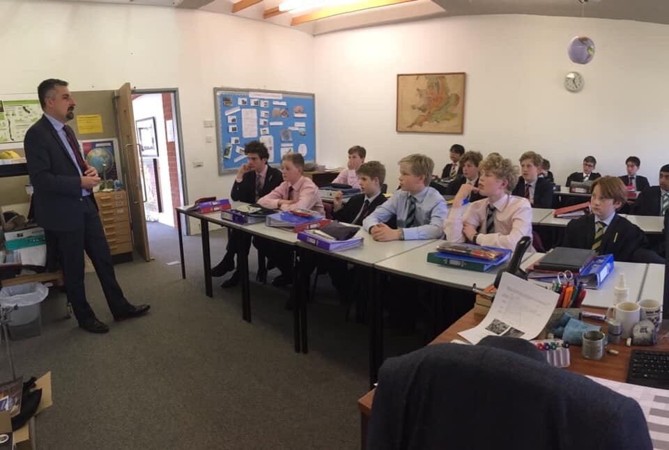 Speaking on global trends to students at Radley College