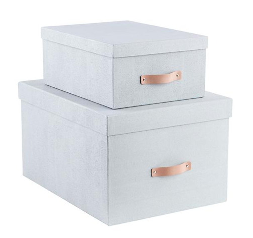 Bigso Grey Woodgrain Storage Boxes