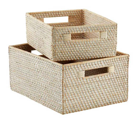 Whitewash Rattan Storage Bins with Handles
