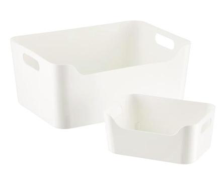 White Plastic Storage Bins with Handles