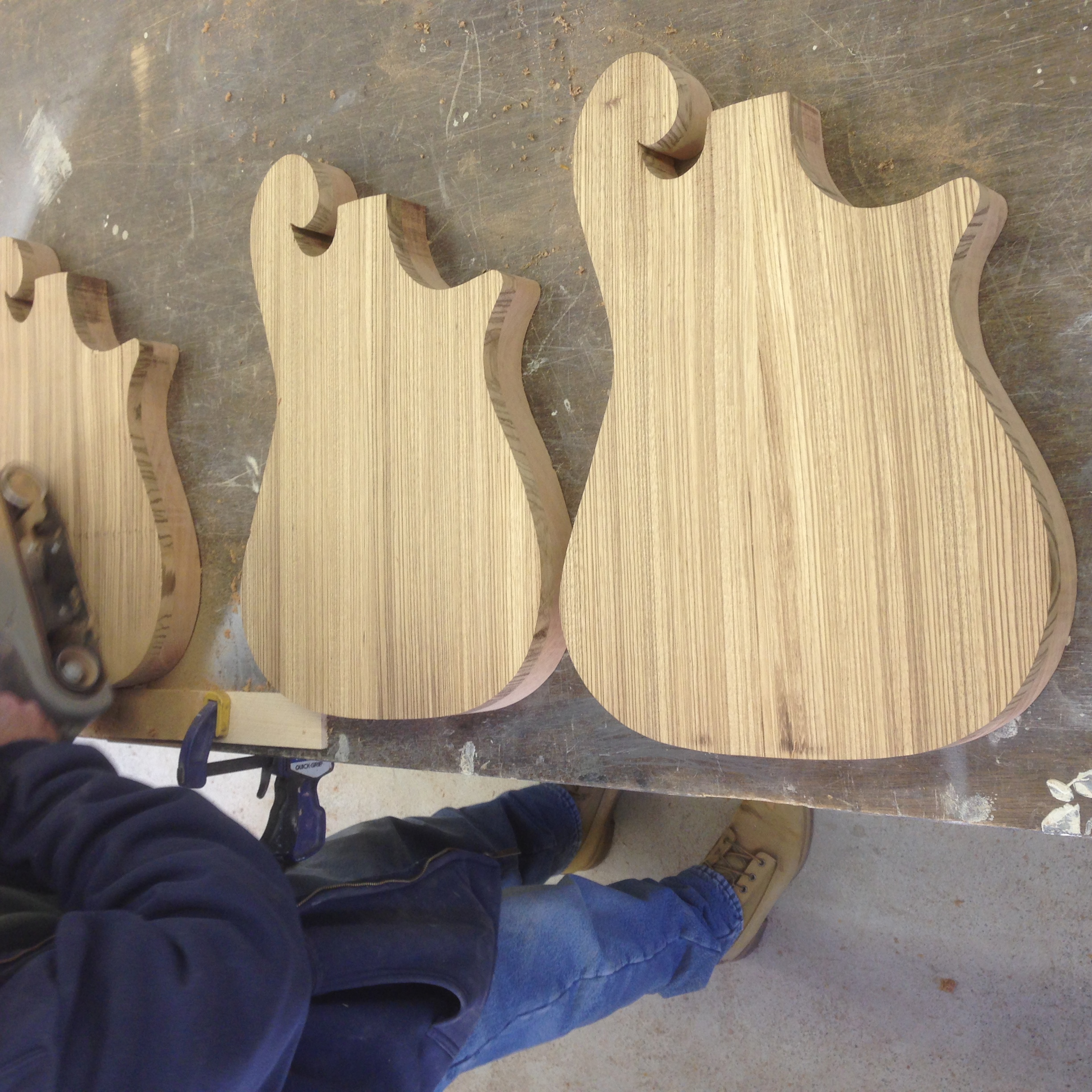 a few zebrawood tops getting sanded.