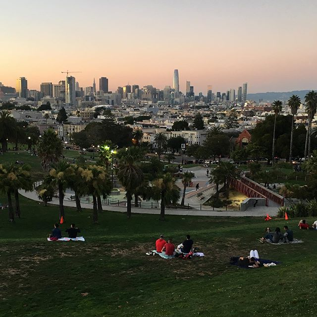 We had a rare fog-free summer sunset in Dolores Park yesterday.