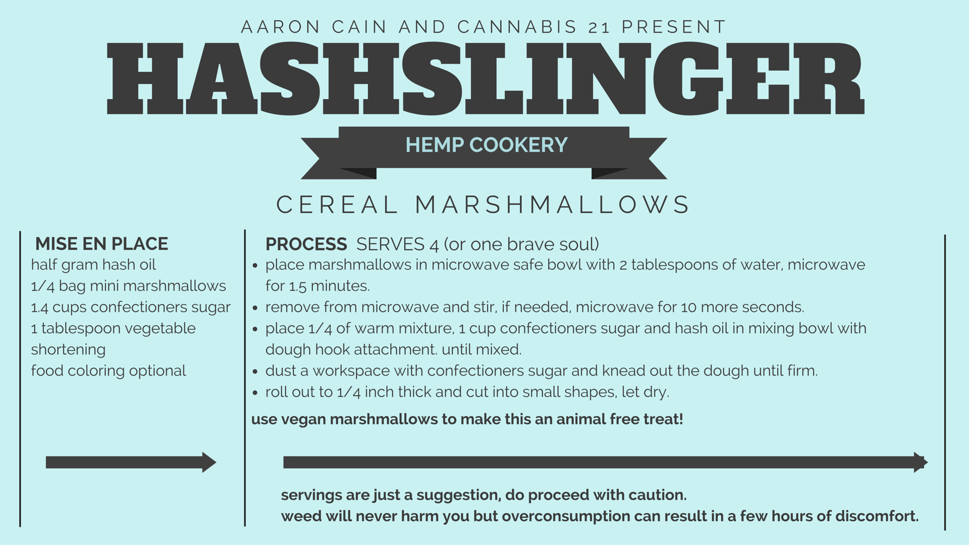 Add these marshmallows to your favorite cereal for a bad ass infused cereal!