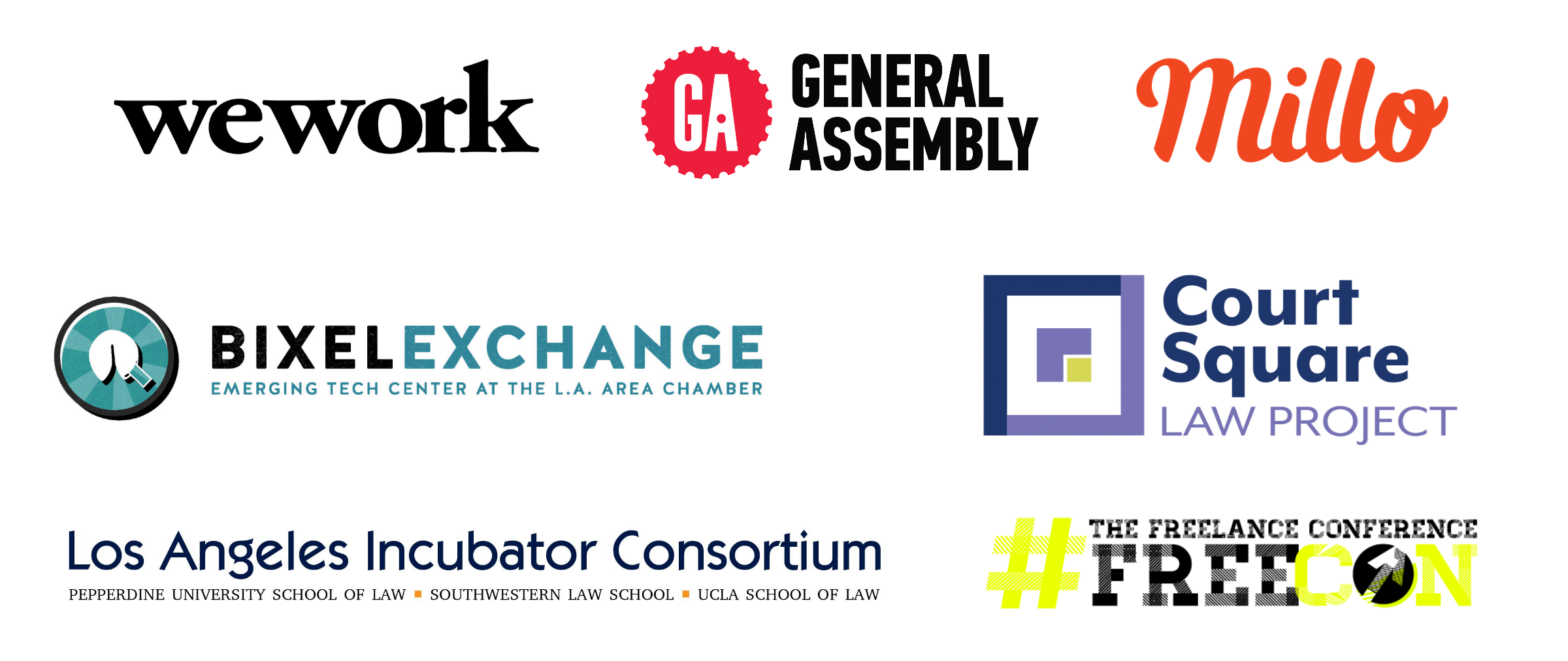 Wework General Assembly Bixel Exchange Chamber of Commerce Los Angeles Incubator Consortium Freelance Conference Court Square Law Project Millo Partners Partnership Entrepreneur Freelancer