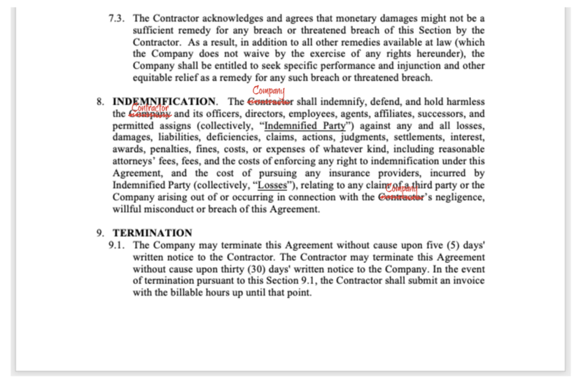 Hand markup of a written contract.