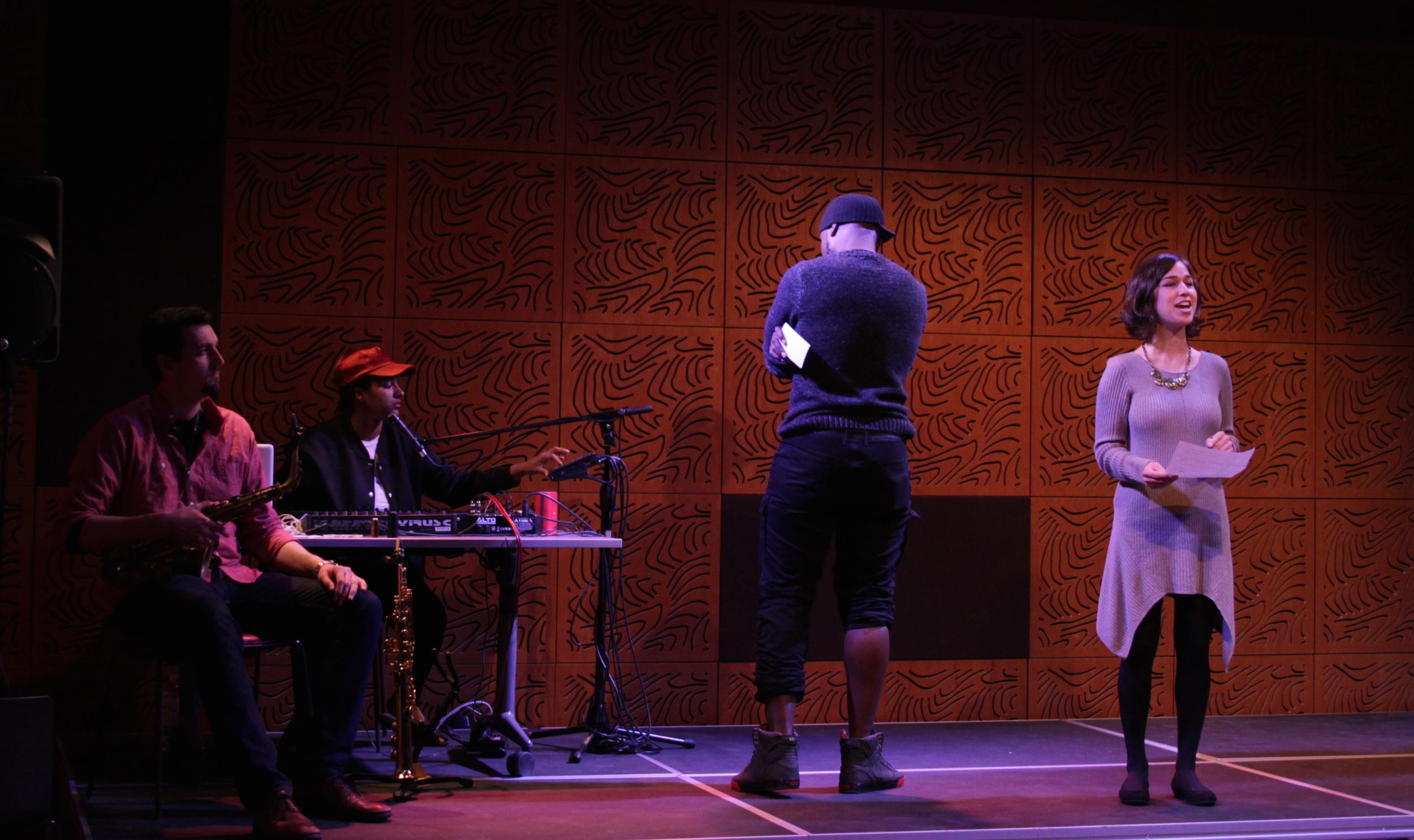Performers (from left to right) Josh Marcus, Taja Cheek, DK Wright, and Xandra Clark. Photo: Olivia Lloyd.
