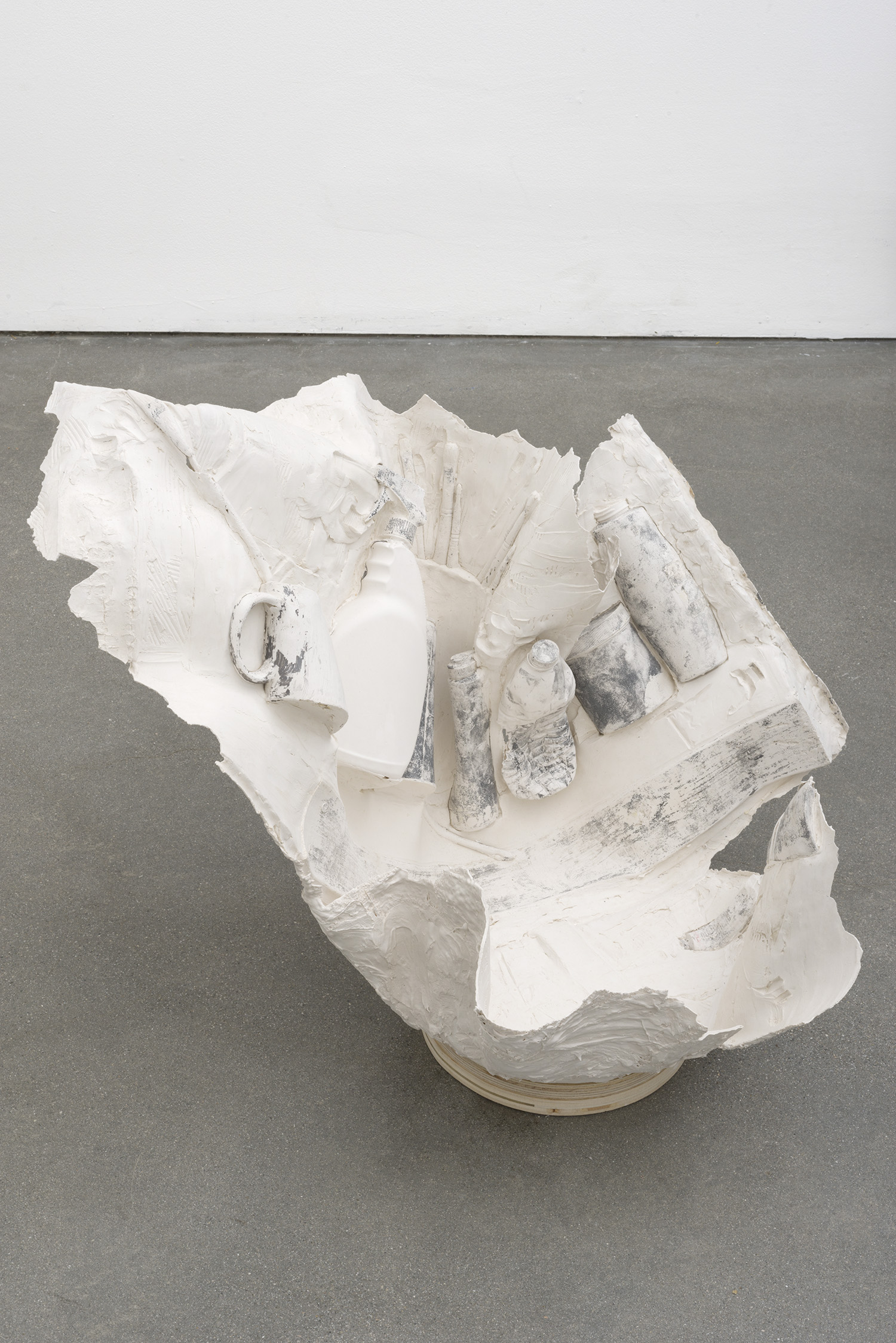 Splashed , 2014 Gypsum cement, fiberglass cloth, wood 27 x 30 x 30 inches
