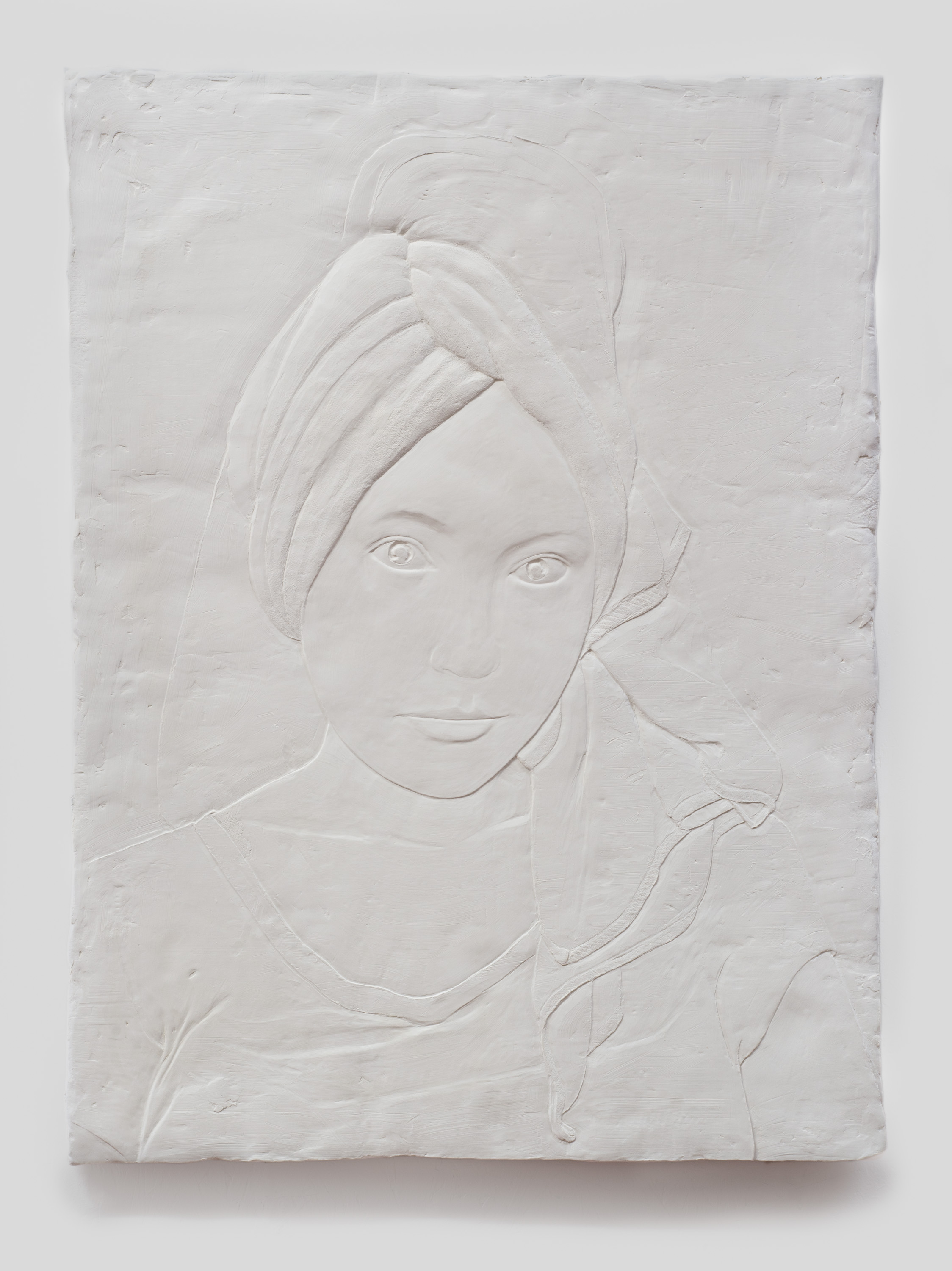 Dawn , 2015 Gypsum cement, fiberglass cloth, and wood 41 x 30 x 2 inches