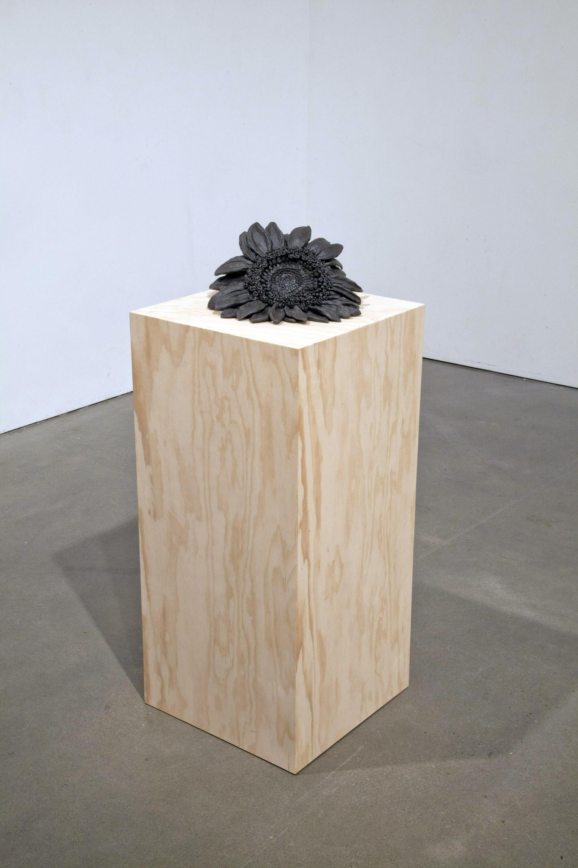 Sunflower , 2013 Stoneware, plywood pedestal 48 x 15 x 15 inches