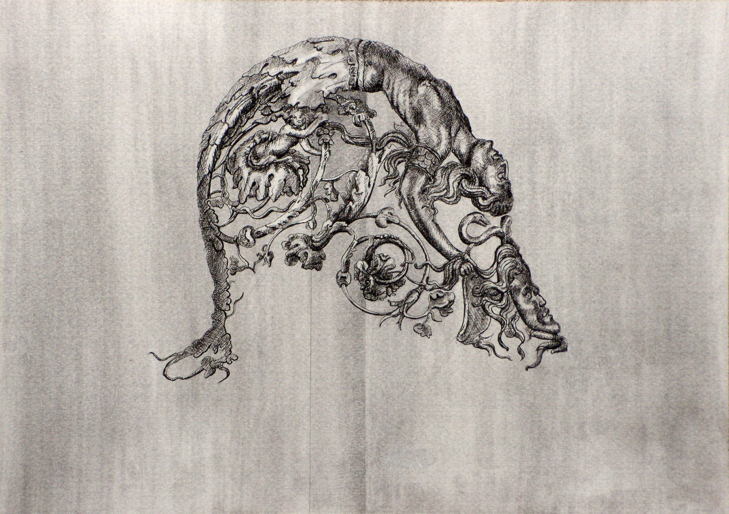 Isolated Helmet Decoration   2 , 2010 Graphite, charcoal, and black pen on paper 8 x 11 1/2 inches