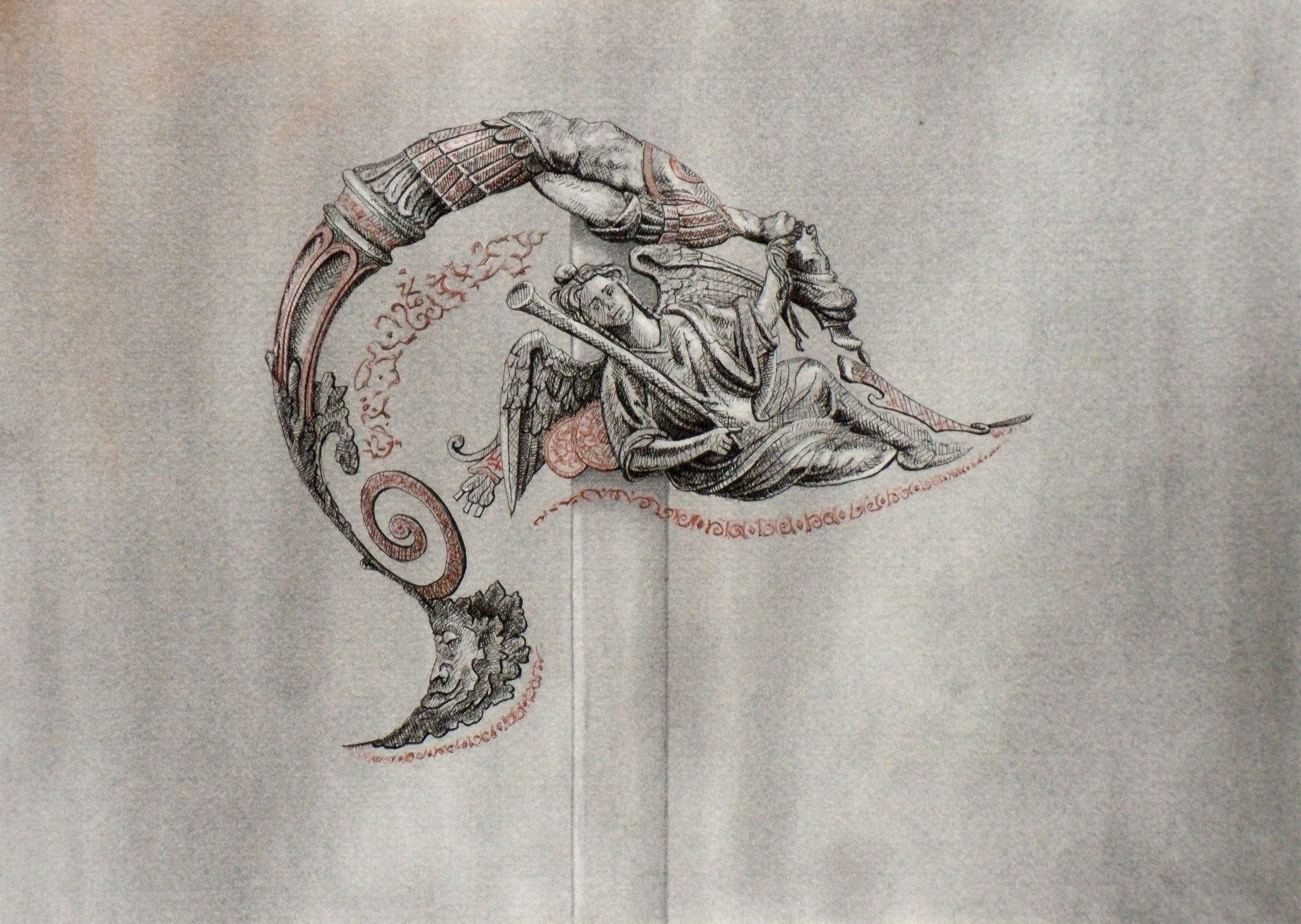 Isolated Helmet Decoration  3 , 2010 Graphite, charcoal, black and brown pen on paper 8 x 11 1/2 inches