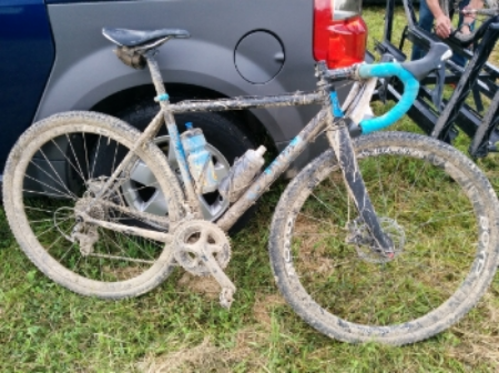 The Revenuer at the finish of the 2015 Hilly Billy Roubaix (note the 29 x 1.8 tires)